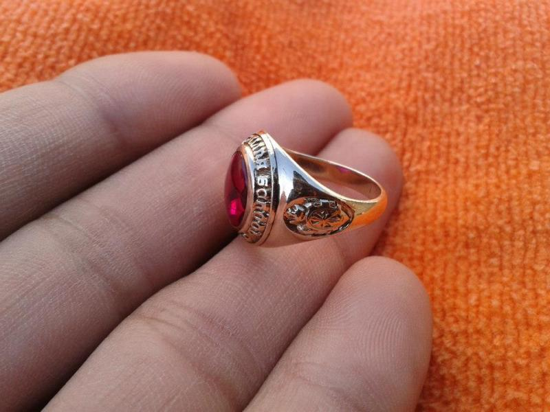 gold class ring big real ruby test positive