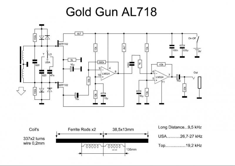 circuit diagram of long range gold detectors work  schematics gold detector circuit get free